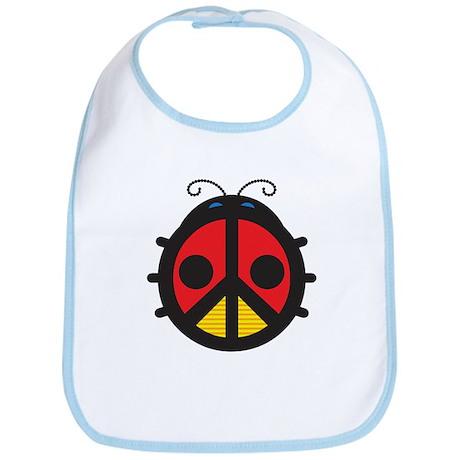 Peace Sign Ladybug Bib