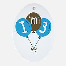 3rd Birthday I'm 3 Oval Ornament