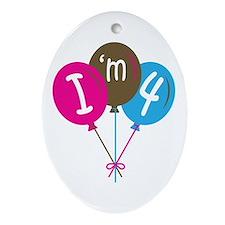 4th Birthday I'm 4 Oval Ornament