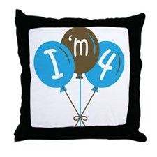 4th Birthday I'm 4 Throw Pillow
