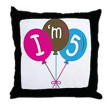 5th Birthday I'm Five Throw Pillow