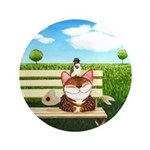 """Cat Art - When Nature Calls 3.5"""" Button"""