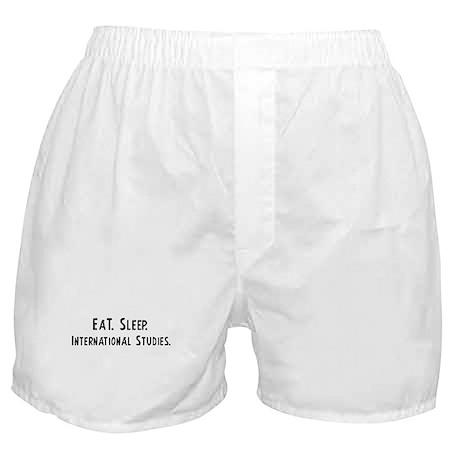 Eat, Sleep, International Stu Boxer Shorts
