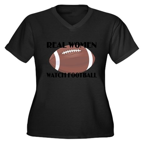 REAL WOMEN WATCH FOOTBALL (1) Women's Plus Size V-