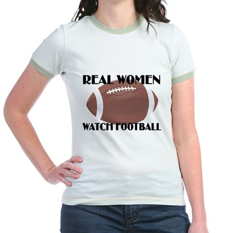 REAL WOMEN WATCH FOOTBALL (1) Jr. Ringer T-Shirt