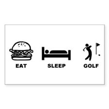 eat sleep golf Rectangle Decal