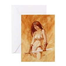 Red Sonja - She Devil TEXT Greeting Cards