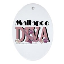 Maltapoo Diva Oval Ornament