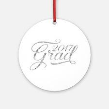 Silver Glitter Grad 2017Modern Typo Round Ornament