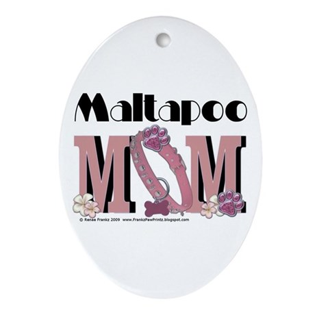 Maltapoo MOM Oval Ornament