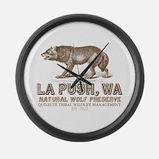 La Push Wolf Preserve Large Wall Clock