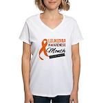 Leukemia Awareness Month v6 Women's V-Neck T-Shirt