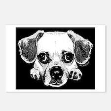 Black & Black Puggle Postcards (Package of 8)