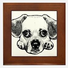Black & White Puggle Framed Tile