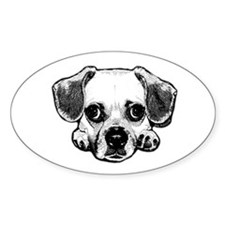 Black & White Puggle Oval Decal