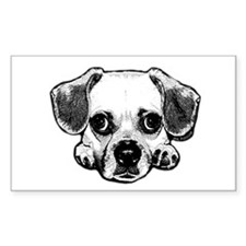 Black & White Puggle Rectangle Decal