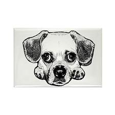 Black & White Puggle Rectangle Magnet