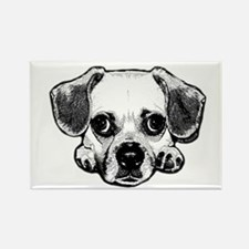Black & White Puggle Rectangle Magnet