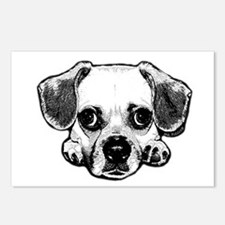 Black & White Puggle Postcards (Package of 8)