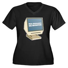 Use Microfiche Women's Plus Size V-Neck Dark T-Shi