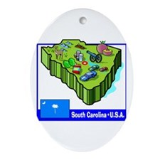 South Carolina Map Oval Ornament