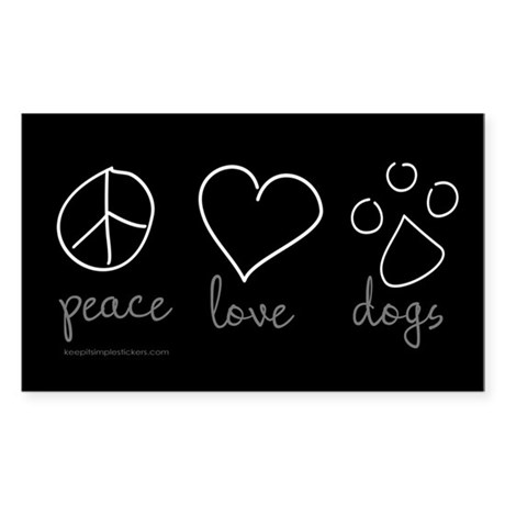 Peace Love Dogs Rectangle Sticker 50 pk)