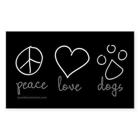 Peace Love Dogs Rectangle Sticker 10 pk)