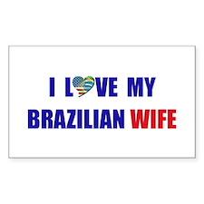 I Love My Brazilian Wife Rectangle Decal