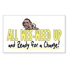Wee-Weed Up Obama Rectangle Decal