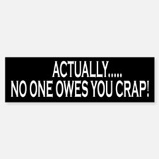 Actually No One Owes You Crap Bumper Bumper Bumper Sticker