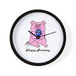 HAPPY BIRTHDAY PINK PIG Wall Clock