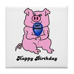 HAPPY BIRTHDAY PINK PIG Tile Coaster