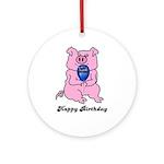 HAPPY BIRTHDAY PINK PIG Ornament (Round)