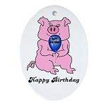 HAPPY BIRTHDAY PINK PIG Ornament (Oval)