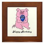 HAPPY BIRTHDAY PINK PIG Framed Tile