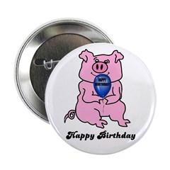 """HAPPY BIRTHDAY PINK PIG 2.25"""" Button (100 pack)"""