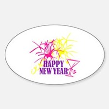 Happy New Year Oval Decal