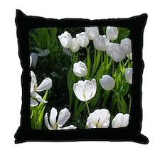 White Tulip Throw Pillow