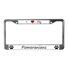 I Love My Pomeranians License Plate Frame