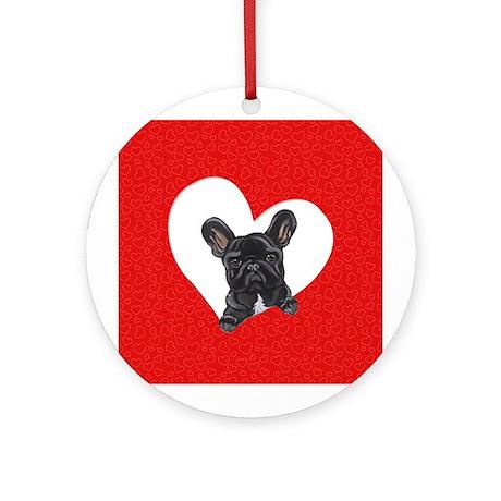 Black Frenchie Lover Ornament (Round)
