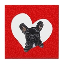 Black Frenchie Lover Tile Coaster