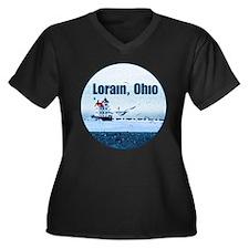 The Lorain, Ohio Women's Plus Size V-Neck Dark T-S