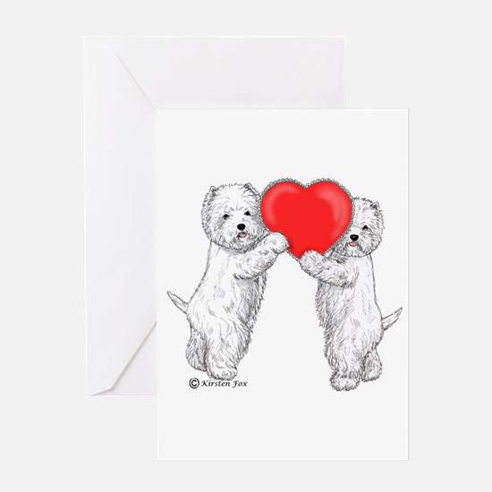 Westies with Heart Greeting Card