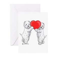 Westies with Heart Greeting Cards (Pk of 10)