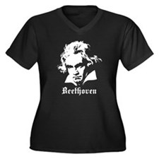 Beethoven Women's Plus Size V-Neck Dark T-Shirt