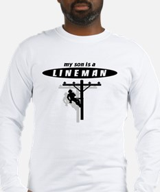 my son is a lineman with shadow Long Sleeve T-Shir