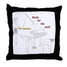 Music for the Soul (white piano) Throw Pillow