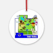 Utah Map Ornament (Round)