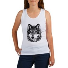 Painted Wolf Grayscale Women's Tank Top
