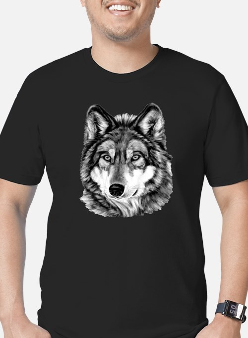 Painted Wolf Grayscale Men's Fitted T-Shirt (dark)